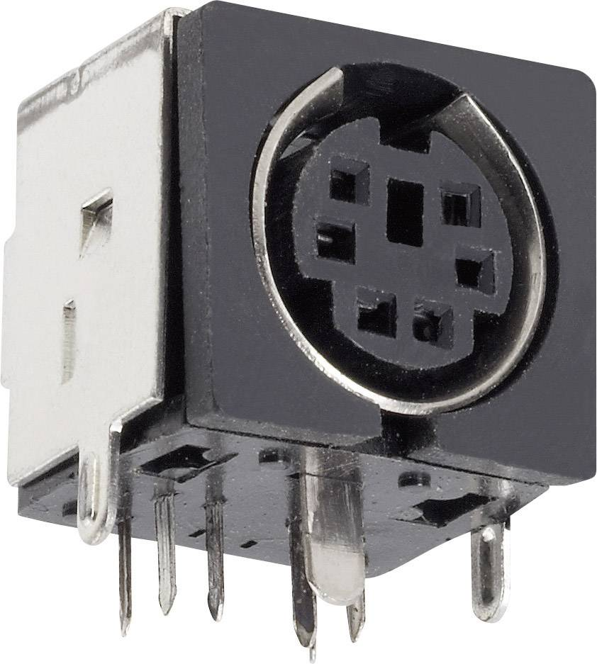 Mini DIN konektor BKL Electronic 0204050, zásuvka, vestavná horizontální, pólů 5, černá, poniklovaná, 1 ks