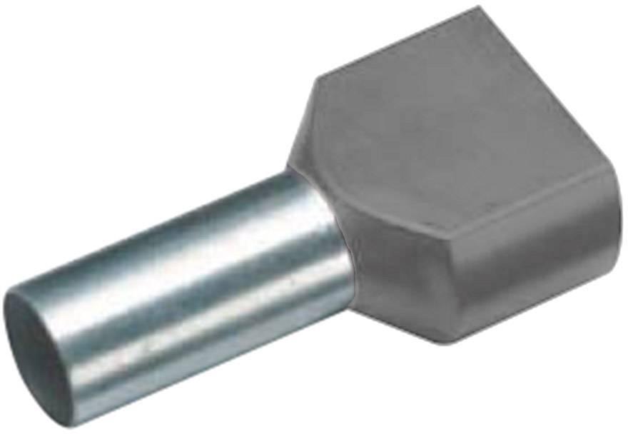 Dvojica dutiniek Vogt Verbindungstechnik 460612D, 4 mm², 12 mm, čiastočne izolované, sivá, 100 ks