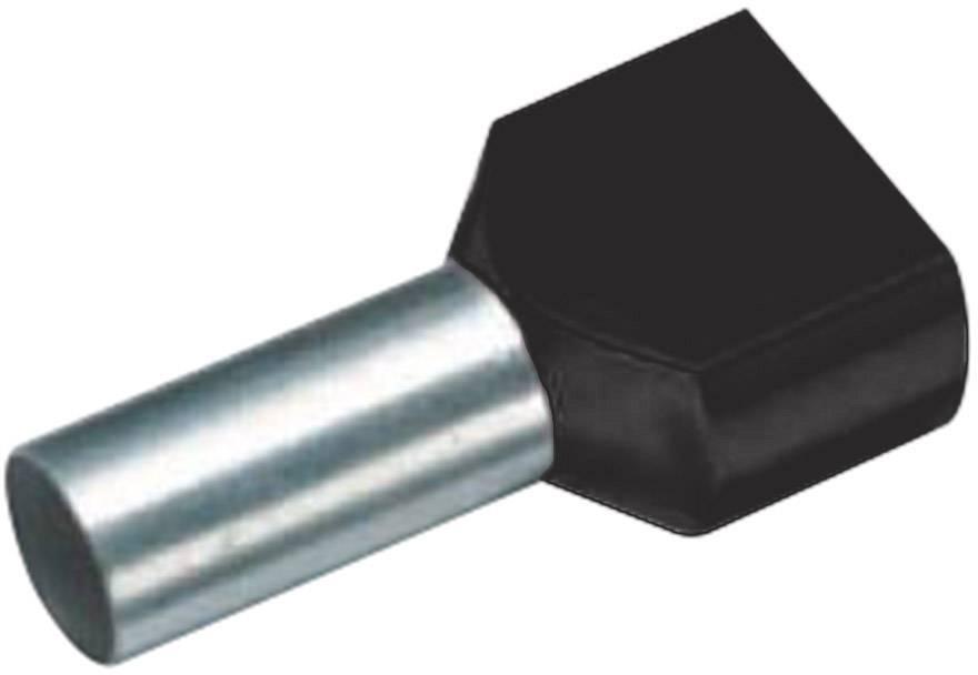 Dvojica dutiniek Vogt Verbindungstechnik 470408D, 1.50 mm², 8 mm, čiastočne izolované, čierna, 100 ks