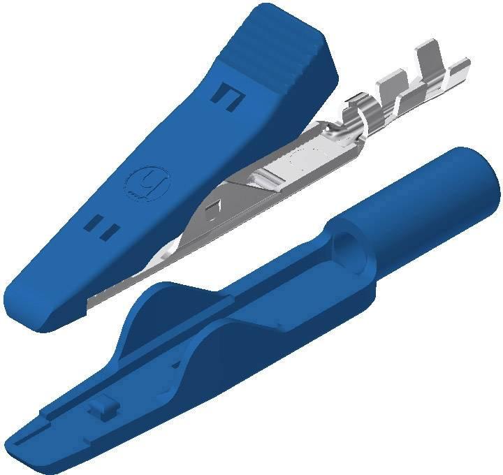 Mini krokosvorka SKS Hirschmann MA 1, modrá, Upínací rozsah max.: 4 mm, dĺžka: 41.5 mm, 1 ks