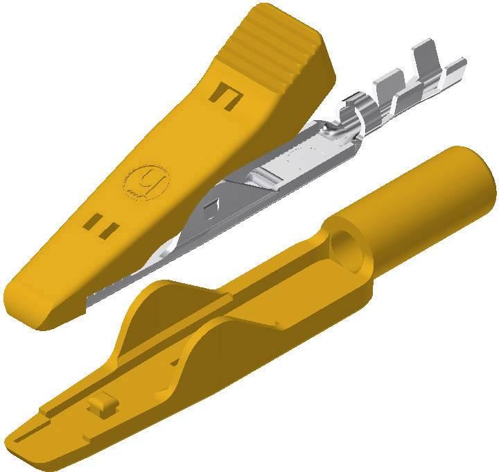 Mini krokosvorka SKS Hirschmann MA 1, žltá, Upínací rozsah max.: 4 mm, dĺžka: 41.5 mm, 1 ks