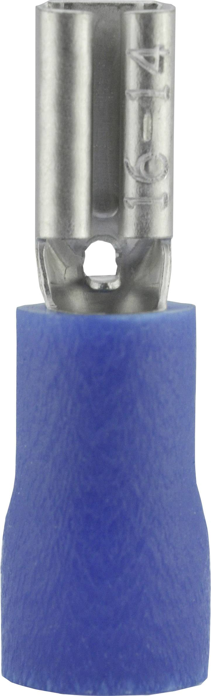 Faston konektor zásuvka Vogt Verbindungstechnik 389905S 2.8 mm x 0.5 mm, 180 °, čiastočne izolované, modrá, 1 ks