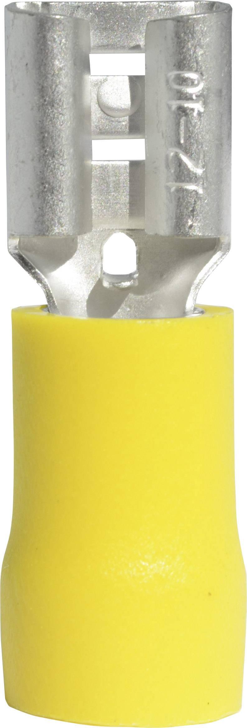 Faston zásuvka Vogt Verbindungstechnik 3907S 6.3 mm x 0.8 mm, 180 °, částečná izolace, žlutá, 1 ks