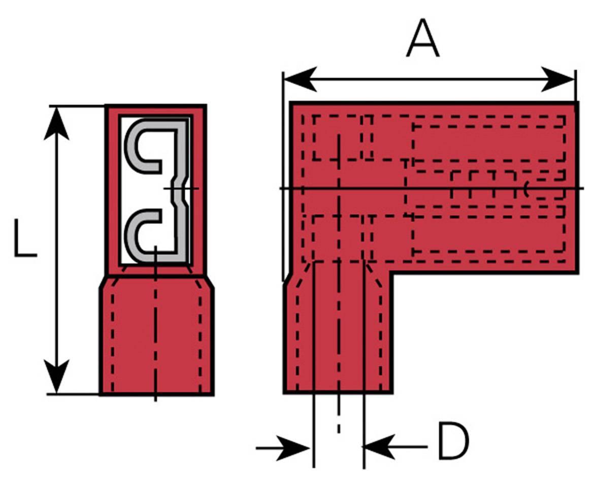 Faston konektor zásuvka Vogt Verbindungstechnik 392308S 4.8 mm x 0.8 mm, 90 °, úplne izolované, červená, 1 ks