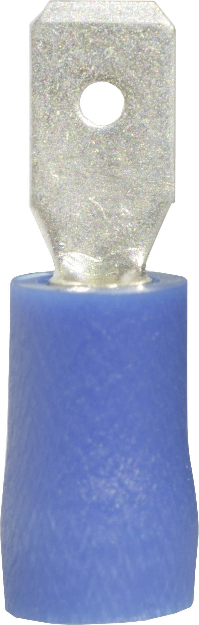 Faston konektor zástrčka Vogt Verbindungstechnik 393405S 4.8 mm x 0.8 mm, 180 °, čiastočne izolované, modrá, 1 ks