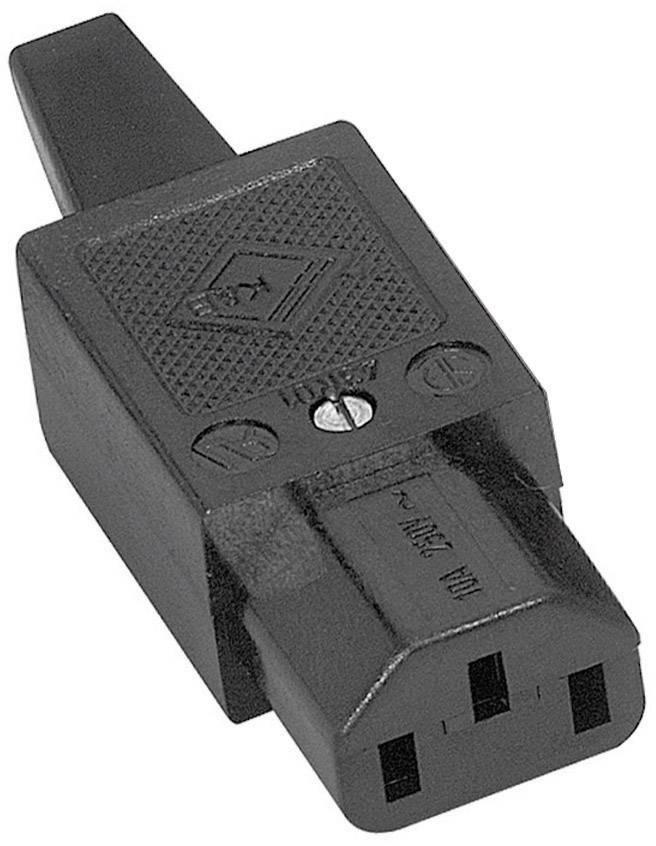 IEC zástrčka C13/C14 K & B 43R011311;C13, zásuvka, rovná, počet kontaktov: 2 + PE, 10 A, 250 V, čierna, 1 ks