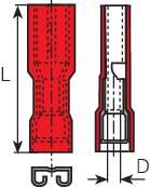 Faston konektor zásuvka Vogt Verbindungstechnik 396105 4.8 mm x 0.5 mm, 180 °, úplne izolované, červená, 1 ks