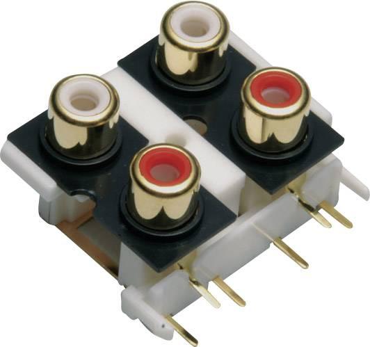 Cinch konektor zásuvka, vstavateľná vertikálna BKL Electronic 072385, počet pinov: 4, zlatá, červená, biela, 1 ks