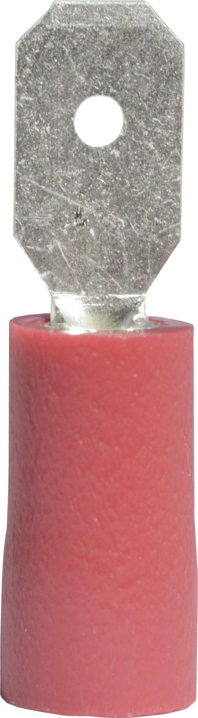 Faston konektor zástrčka Vogt Verbindungstechnik 392805 4.8 mm x 0.5 mm, 180 °, čiastočne izolované, červená, 1 ks