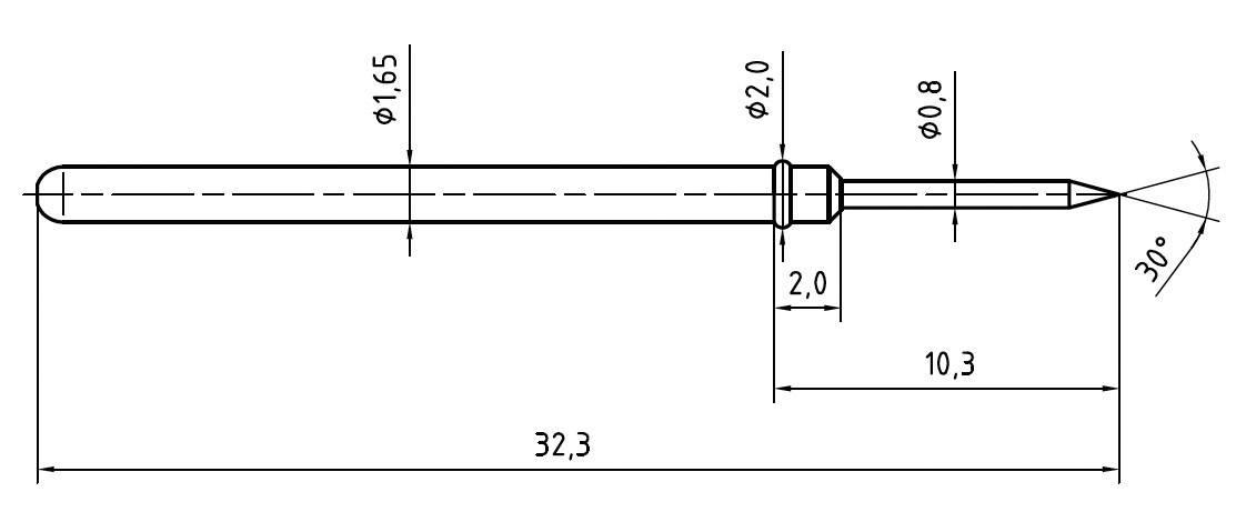 Skúšobný hrot PTR 2021-B-1.5N-NI-0.8
