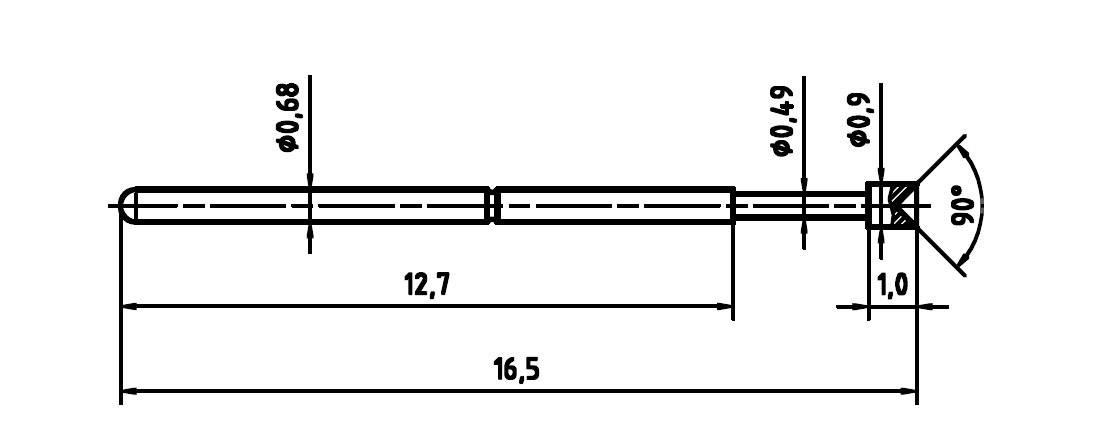 Skúšobný hrot PTR 1007-A-0.7N-AU-0.9
