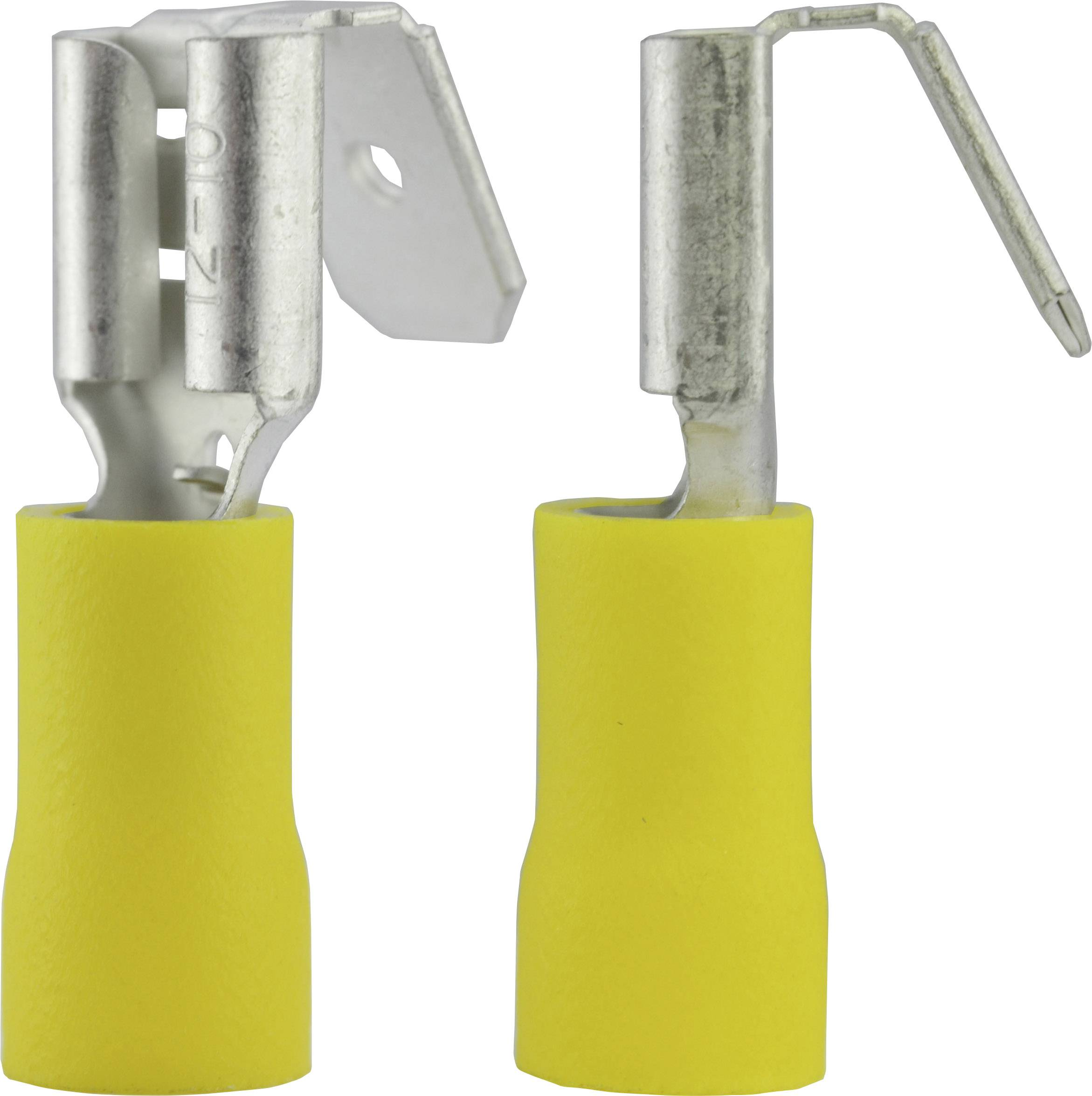 Faston konektor zásuvka Vogt Verbindungstechnik 3933 s vetvením , 6.3 mm x 0.8 mm, 180 °, čiastočne izolované, žltá, 1 ks
