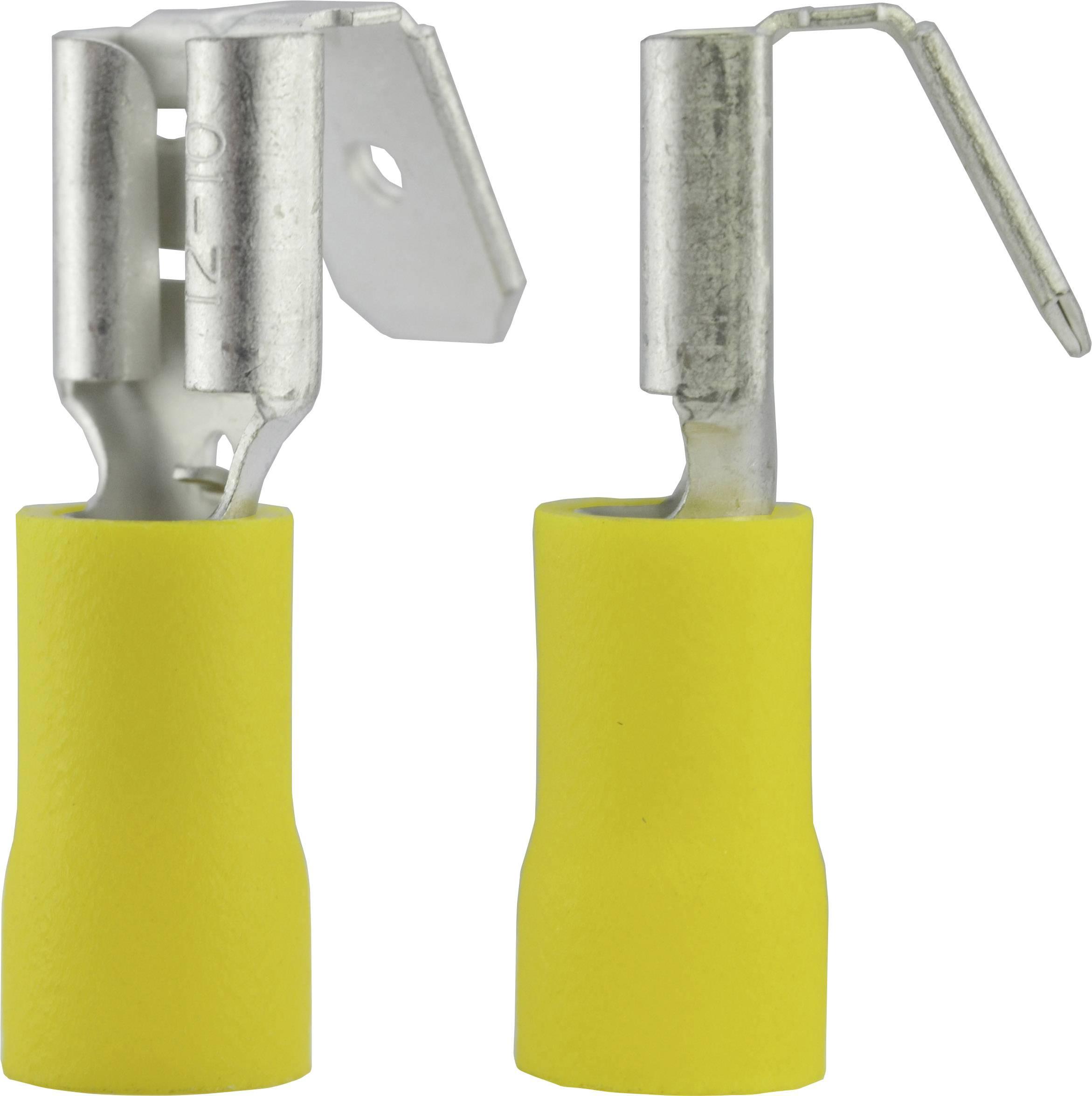 Faston konektor zásuvka Vogt Verbindungstechnik 3933S s vetvením , 6.3 mm x 0.8 mm, 180 °, čiastočne izolované, žltá, 1 ks