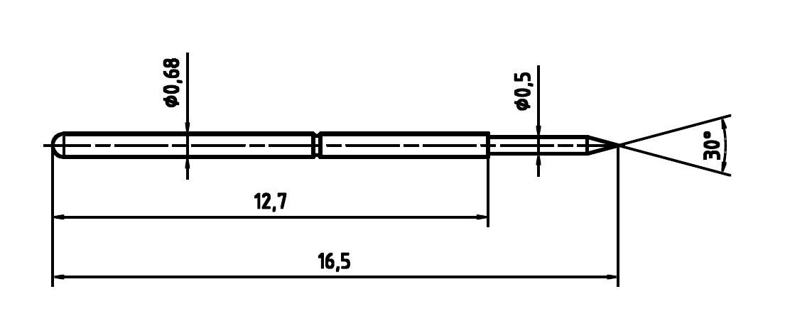 Skúšobný hrot PTR 1007-B-0.7N-AU-0.5C