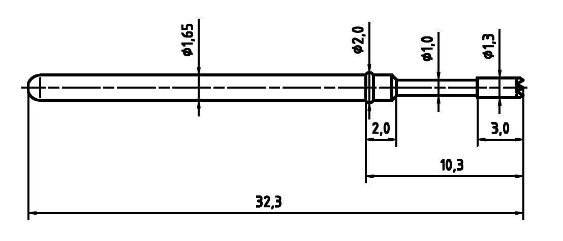 Zkušební hrot PTR 2021-C-1.5N-AU-1.3