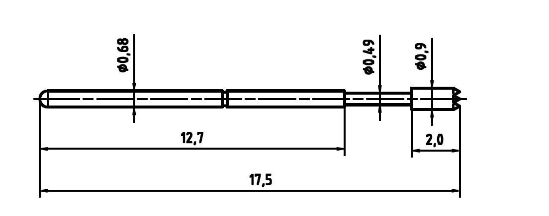 Skúšobný hrot PTR 1007-C-0.7N-AU-0.9C