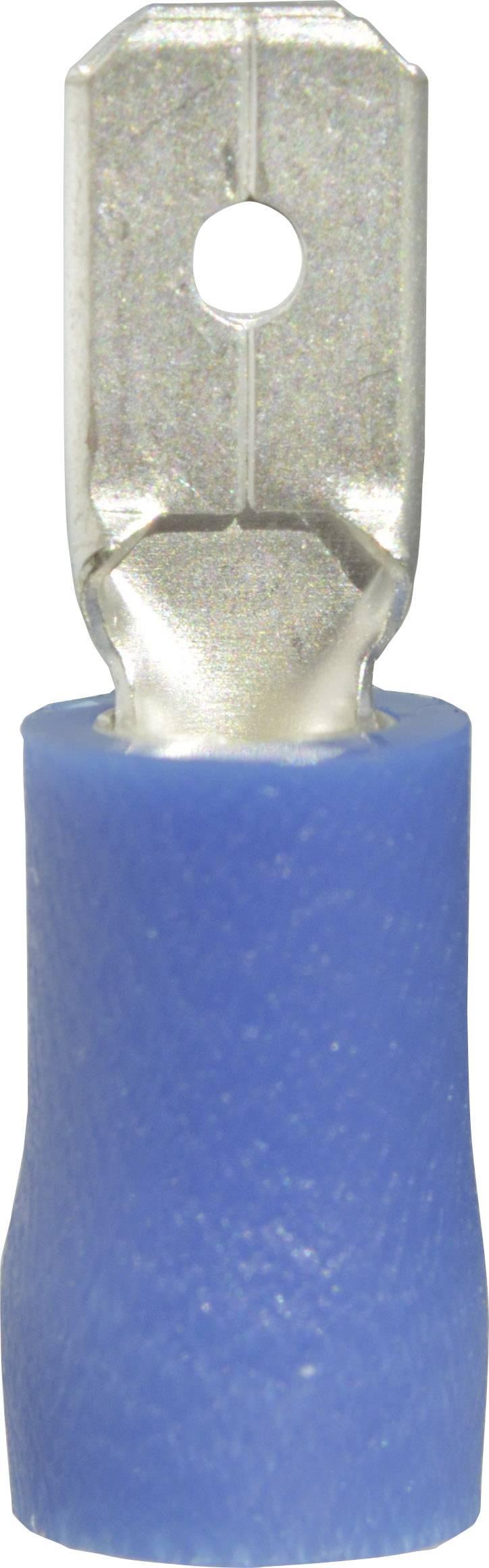 Faston konektor zástrčka Vogt Verbindungstechnik 393408 4.8 mm x 0.8 mm, 180 °, čiastočne izolované, modrá, 1 ks