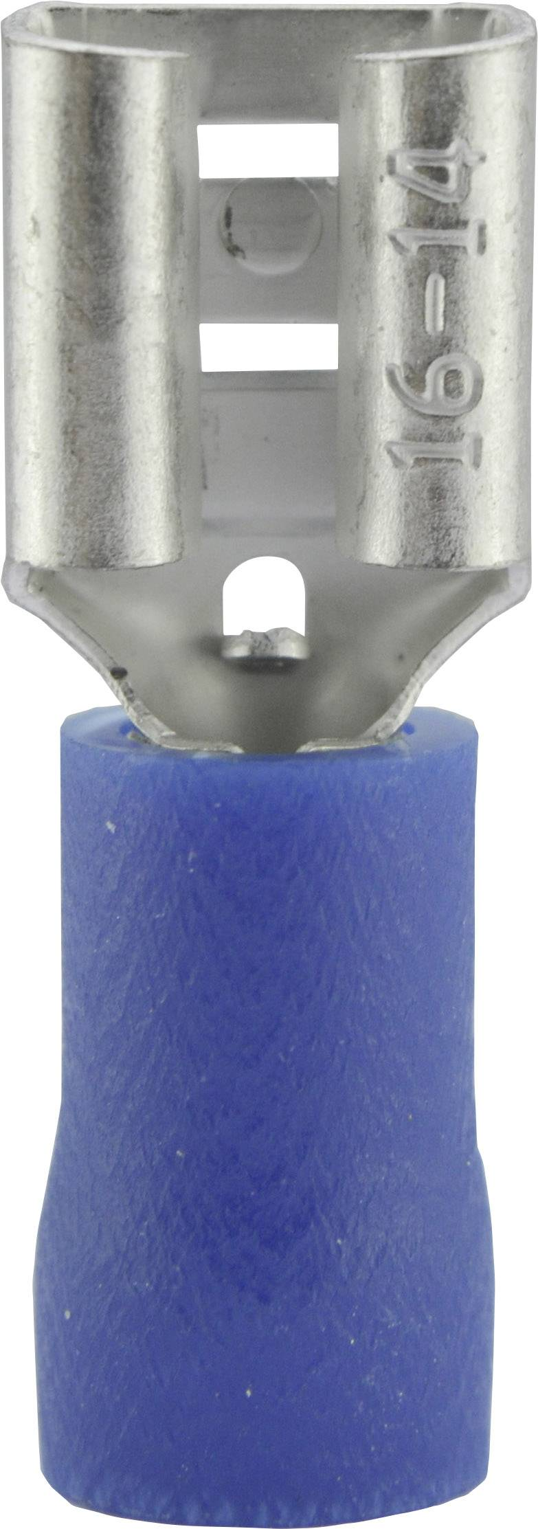 Faston konektor zásuvka Vogt Verbindungstechnik 3906 6.3 mm x 0.8 mm, 180 °, čiastočne izolované, modrá, 1 ks
