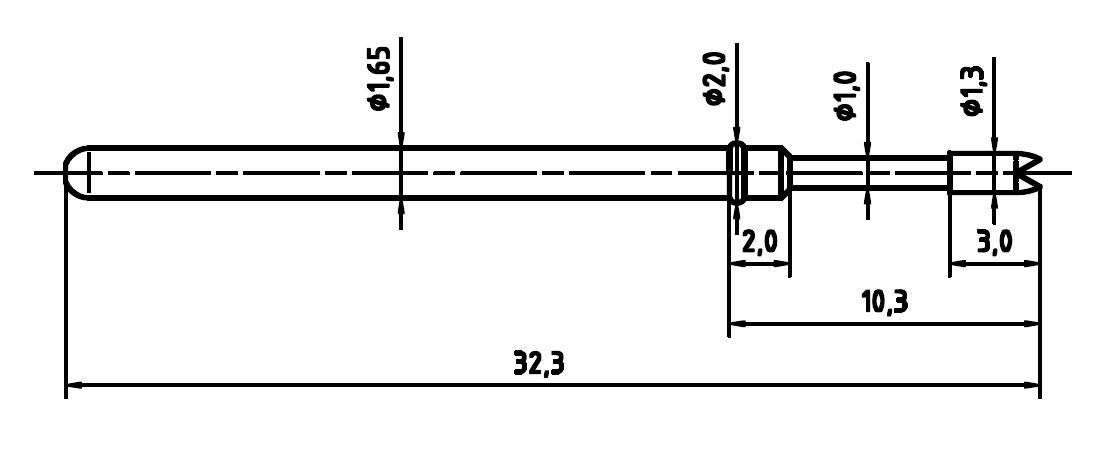 Zkušební hrot PTR 2021-G-1.5N-NI-1.3