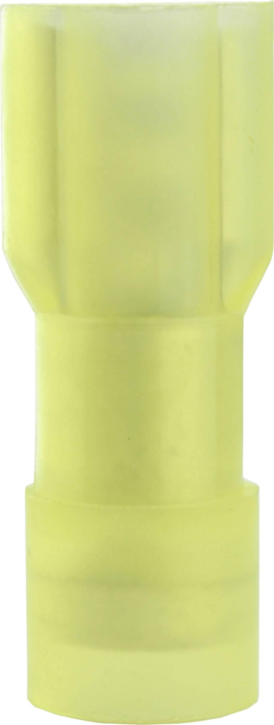 Faston konektor zásuvka Vogt Verbindungstechnik 3967 6.3 mm x 0.8 mm, 180 °, úplne izolované, žltá, 1 ks