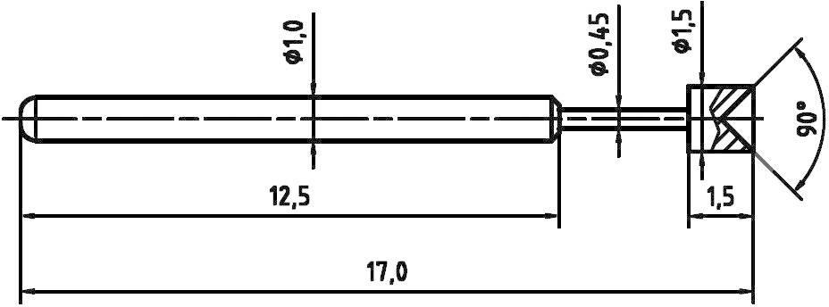 Skúšobný hrot PTR 1010-A-0.8N-AU-1.5