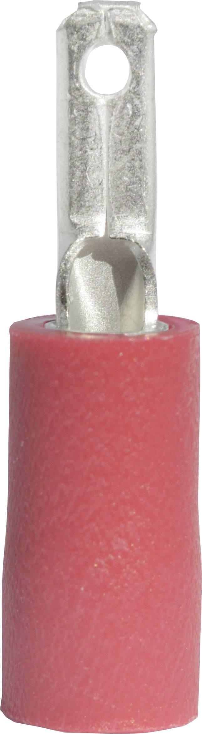 Faston konektor zástrčka Vogt Verbindungstechnik 391308 2.8 mm x 0.8 mm, 180 °, čiastočne izolované, červená, 1 ks