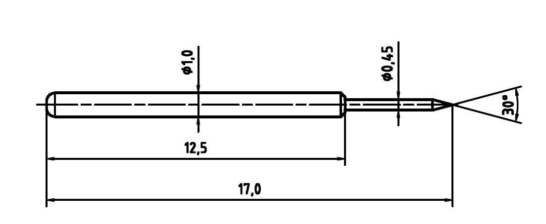 Skúšobný hrot PTR 1010-B-0.8N-AU-0.45