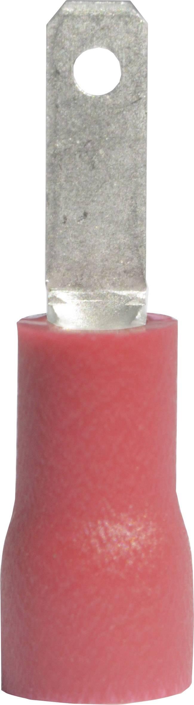 Faston konektor zástrčka Vogt Verbindungstechnik 391305 2.8 mm x 0.5 mm, 180 °, čiastočne izolované, červená, 1 ks