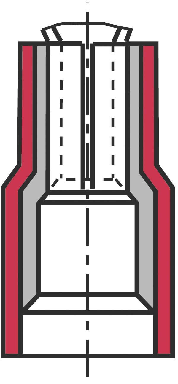 Faston konektor zásuvka Vogt Verbindungstechnik 390005 2.8 mm x 0.5 mm, 180 °, čiastočne izolované, červená, 1 ks