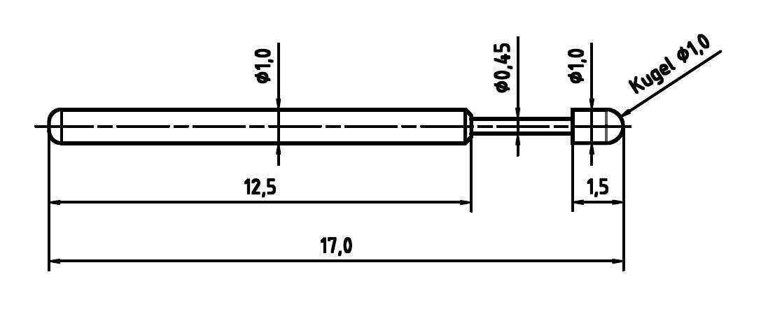 Skúšobný hrot PTR 1010-D-0.8N-AU-1.0