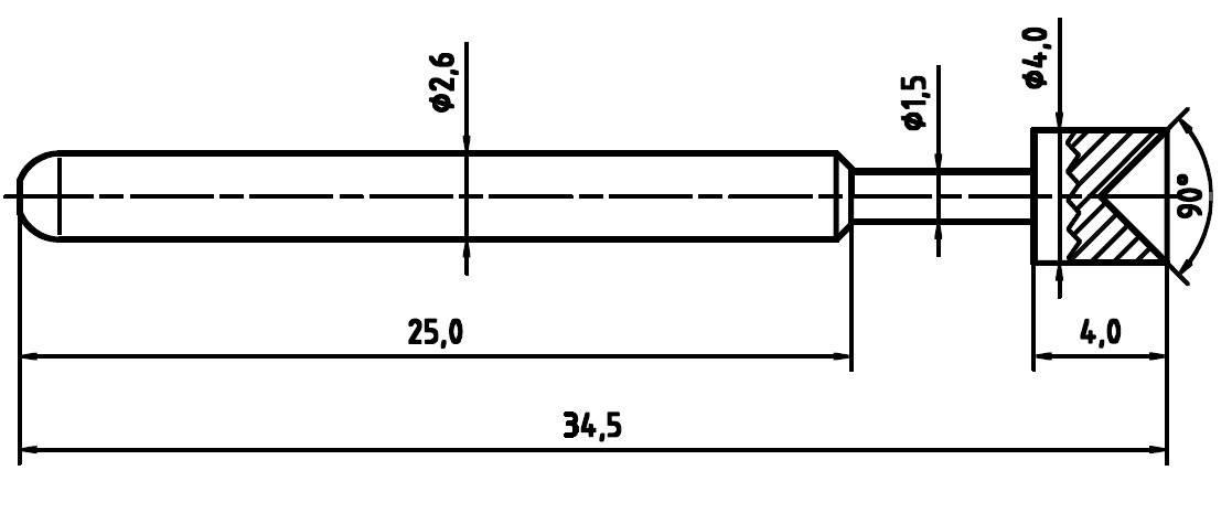 Skúšobný hrot PTR 1040-A-1.5N-NI-4.0