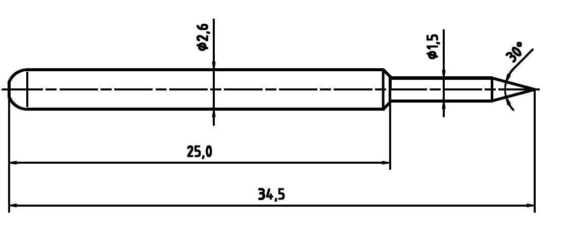 Skúšobný hrot PTR 1040-B-1.5N-NI-1.5