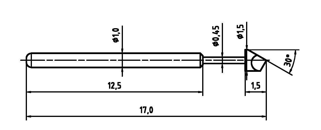 Skúšobný hrot PTR 1010-H-0,8 N-Ni-1,5