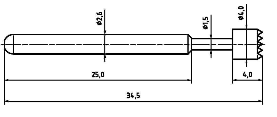 Merací hrot s pružinovým kontaktom pre DPS PTR 1040-C-1.5N-NI-4.0