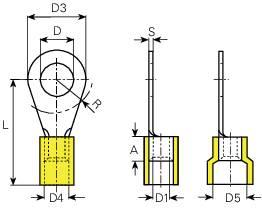 Káblové očko Vogt Verbindungstechnik 3661A, průřez 6 mm², průměr otvoru 6.5 mm, čiastočne izolované, žltá, 1 ks