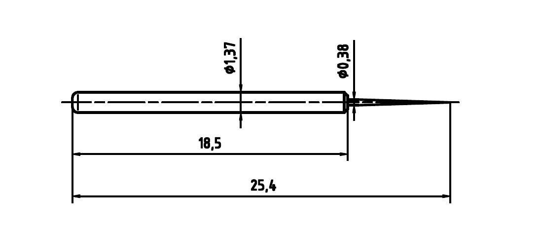 Skúšobný hrot PTR 1015-BS-0.7N-AU-0.38
