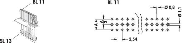 Zásuvková lišta vyšší kvality Fischer Elektronik BL 11/254/ 45/Z, řádky 1, kontakty na řádek 45, 1 ks