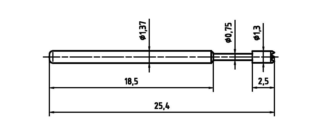 Skúšobný hrot PTR 1015-C-0.7N-AU-1.3C