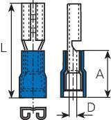 Faston konektor zásuvka Vogt Verbindungstechnik 389905 2.8 mm x 0.5 mm, 180 °, čiastočne izolované, modrá, 1 ks