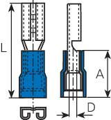 Faston konektor zásuvka Vogt Verbindungstechnik 3919 9.5 mm x 1.2 mm, 180 °, čiastočne izolované, modrá, 1 ks