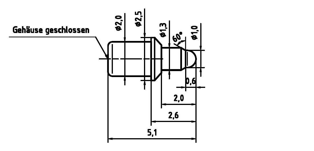 Skúšobný hrot PTR 5099-D-2.0N-AU-1.0C