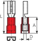 Faston konektor zásuvka Vogt Verbindungstechnik 3901S 4.8 mm x 0.5 mm, 180 °, čiastočne izolované, červená, 1 ks