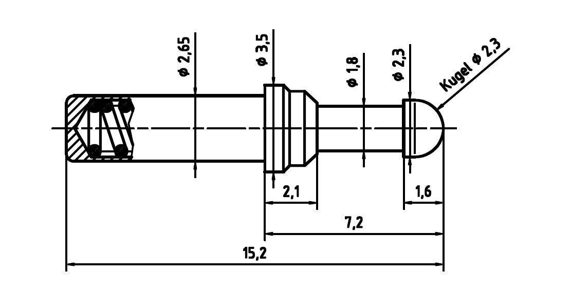 Skúšobný hrot PTR 5110/S.03D1.5NAU2.3M
