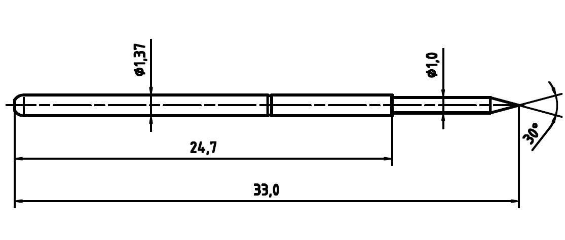 Skúšobný hrot PTR 1025/E-1.5N-AU-1.0