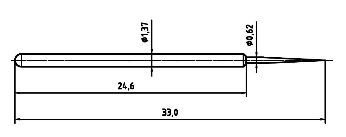 Skúšobný hrot PTR 1025BST1.5N-AU-0.62