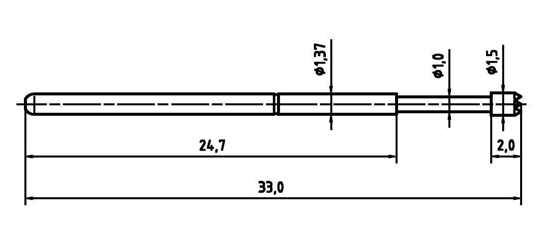 Zkušební hrot PTR 1025/E-C-1.5N-AU-1.5