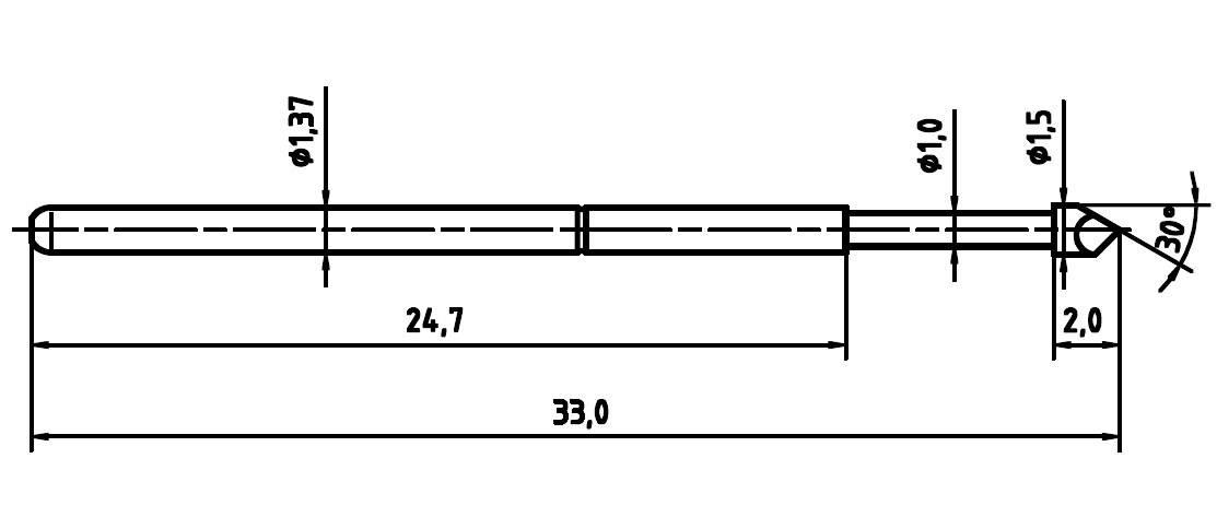 Zkušební hrot PTR 1025-H-1.5N-AU-1.5