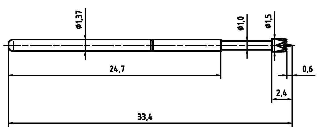 Skúšobný hrot PTR 1025-E-M-1.5N-AU-1.3