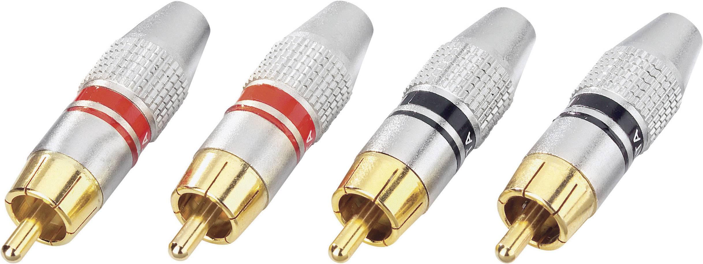 Cinch konektor zástrčka, rovná 2, červená, čierna, 4 ks