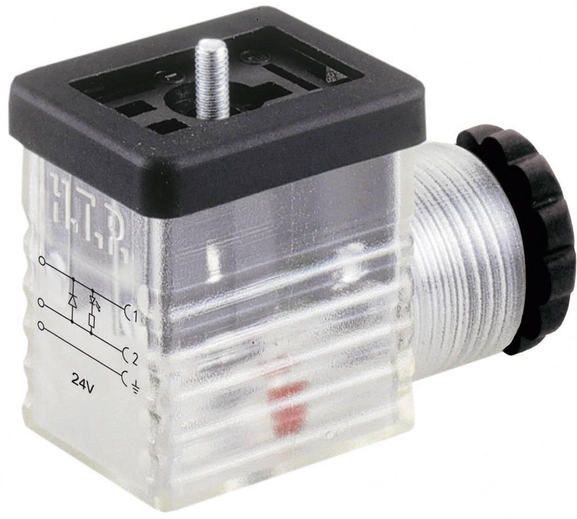 Napájecí prům. konektor se signalizací Hirschmann GMNL 216 NJ LED 24 HH schwarz (934 460-002), šrouby/Kabelové
